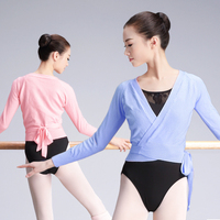 Autumn Winter V Neck High Waist Blouse Girls Ladies Long-sleeve Dance Tops Women Adult Ballet Wrap Sweater