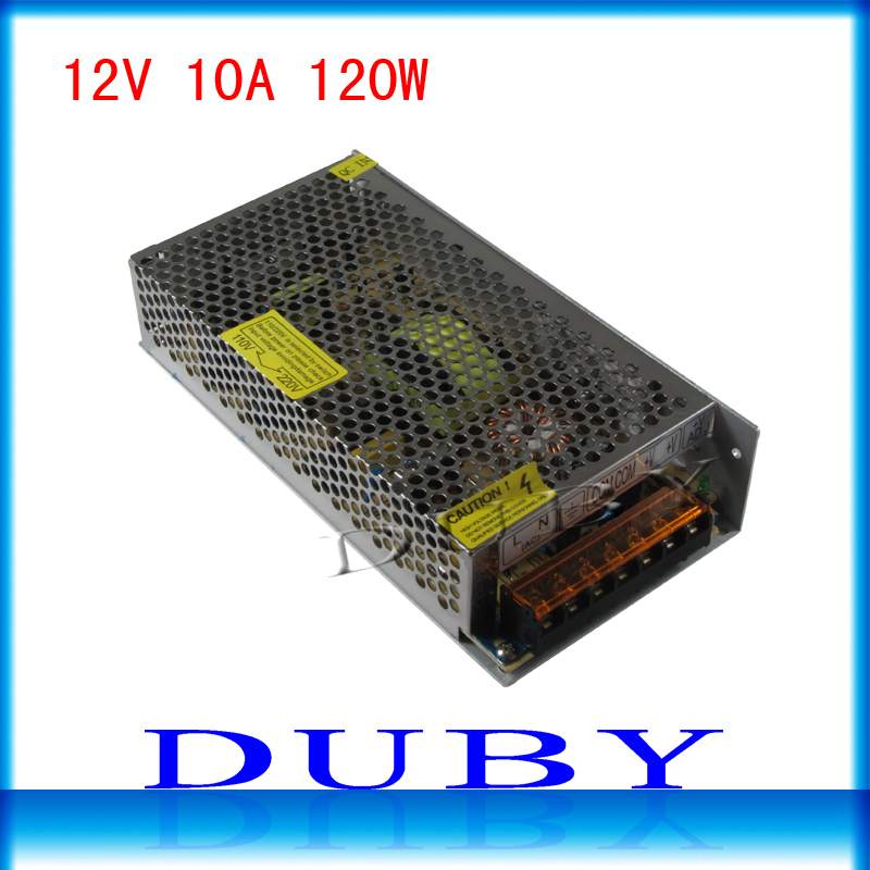 100piece/lot Big Volume 12V 10A 120W Switching power supply Driver For LED Light Strip Display AC100-240V Free Fedex