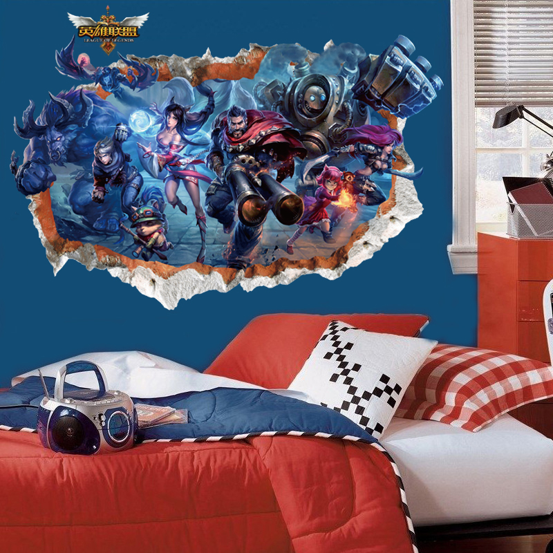 3d League of legends LOL game through wall stickers for kids rooms diy wall art decals Ezreal Ahri Graves Annie Teemo posters