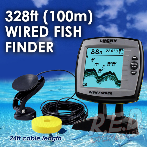 цена на FF-918N1 LUCKY Fish Finder Depth Sounder Transducer 328feet(100m) with 4-level Grayscale FSTN LCD Fish Detector