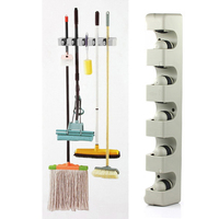 5 Position Kitchen Storage Mop Broom Holder Tool Plastic Wall Mounted PTCT