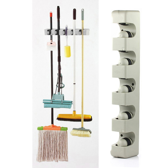 Abs Kitchen Wall Mounted Hanger 5 Position Storage Mop Brush Broom Organizer Holder Tool