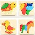 Дошкольное головоломки животных мультфильм маленький трехмерный 3d головоломки деревянные игрушки дети обучения и образовательные игрушки