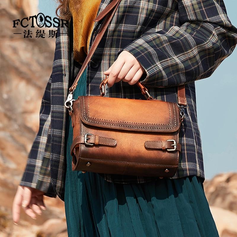 Leather Women Handbag  New Cowhide Retro Casual Shoulder Messenger Bag Original Handmade Leather Belt Decoration Bag Ladies