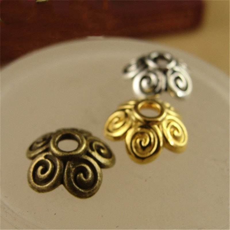 50pcs 10mm Metal Spacer Flower End Caps Filigree Charm Spacer Beads For DIY Jewelry Making Findings