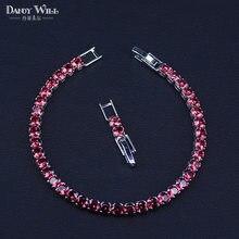 Модный Королевский Теннисный браслет для женщин, серебряный цвет, Большой кубический цирконий с розово-красным камнем, вечерние ювелирные украшения