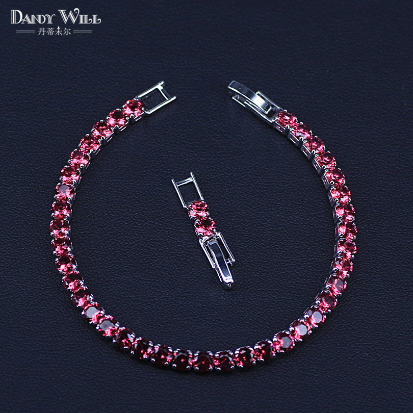 New Fashion Royal Tennis Bracelet For Women Silver Color Big Cubic Zirconia Rose Red Stone Connected Party Charm Jewelry(China)