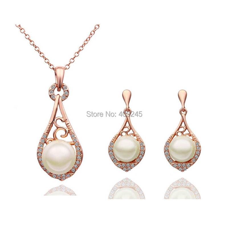 Cheap Pearl Necklace Sets: New 2014 Hot Selling Wholesale Gold/Silver Plated Pearl