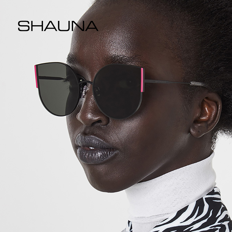 SHAUNA Summer Style Ins Popular Cat Eye Sunglasses Women Trending Red Rim Shades for Men