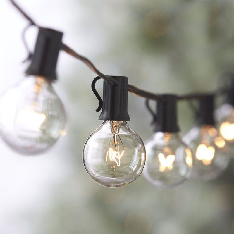 ФОТО Christmas Fairy Lights Balls String Lights with 25 G40 Bulbs Outdoor Bistro Market Cafe Garden Party Patio Lamp Backyard Lights