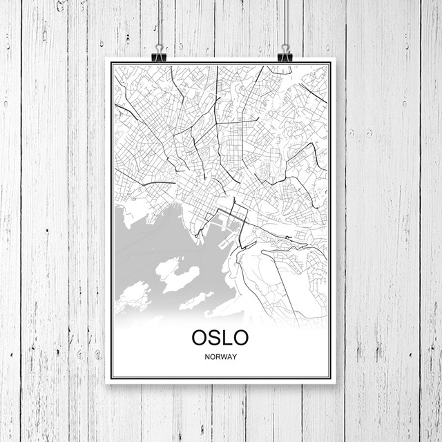 Famous World City Map OSLO Norway Print Poster Abstract Coated - Norway map poster