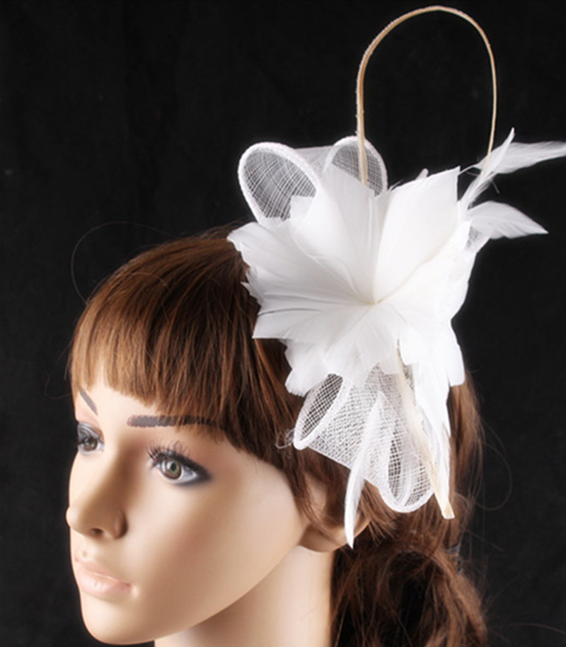 21 color elegant bridal fascinator hair accessory sinamay loop with feather  flowers adorned wedding headwear party cocktail hats