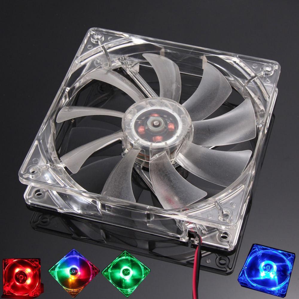 PC Computer Fan Quad 4 LED Light 120mm PC Computer Case 12V Cooling Fan Mod Quiet Molex Connector Easy Installed Fan Colorful personal computer graphics cards fan cooler replacements fit for pc graphics cards cooling fan 12v 0 1a graphic fan