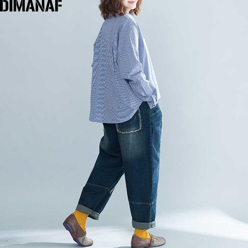 DIMANAF chemisier femme chemises de grande taille bureau montre de sport linge Vintage manches longues Plaid femme vêtements lâche tunique 2018 automne