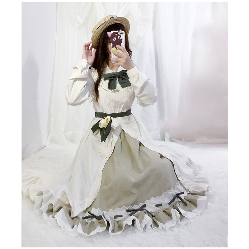 Japonais Anime carte Captor Sakura Lolita robe Sakura & Tomoyo fête Cosplay Costume Kawaii arc volants broderie femmes robes - 5