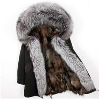 2018 natural fox fur liner long outerwear new winter jacket raccoon fur lining big real fox fur collar coat parkas