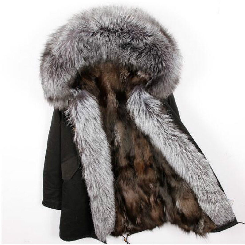2018 natural fox fur liner long outerwear new winter jacket raccoon fur lining big real fox fur collar coat   parkas