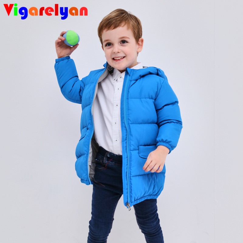 5179cf19123a Baby Boys Mid long White Duck Down Hoody Jackets 20 Cold Winter High ...