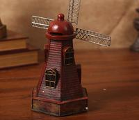 Antique Dutch Windmill Model Home Decoration Resin Figurine Furnishing Articles Holland Windmill Home Decor Ornaments ZH126