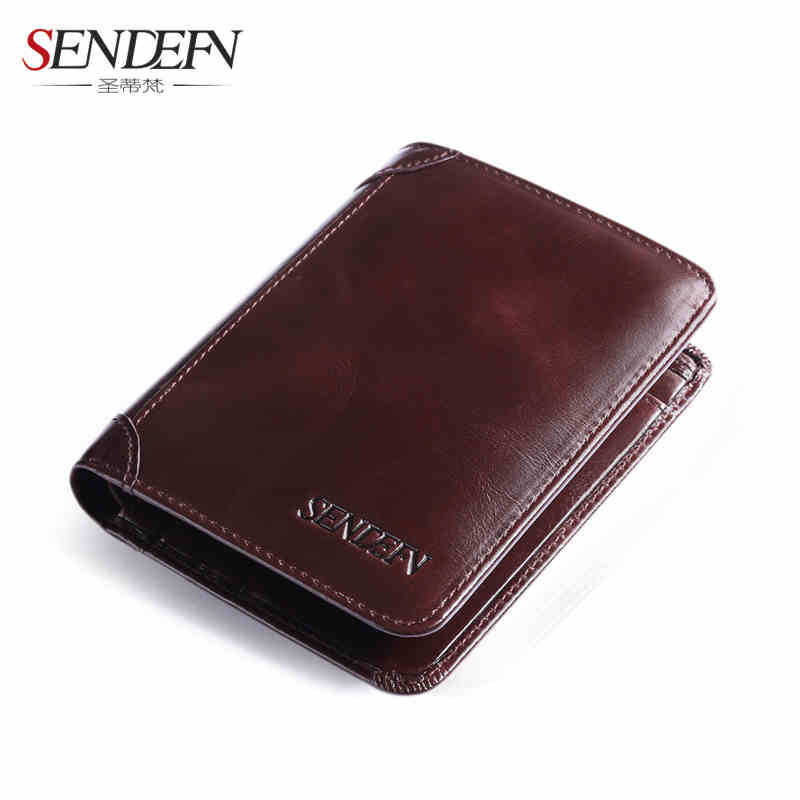 Men's wallet short section business multi-card first layer leather leather wallet men's wallet 1 black pu leather ladies long section of ultra thin magnetic buckle multi card wallet wallet size about 19 9 5 2cm