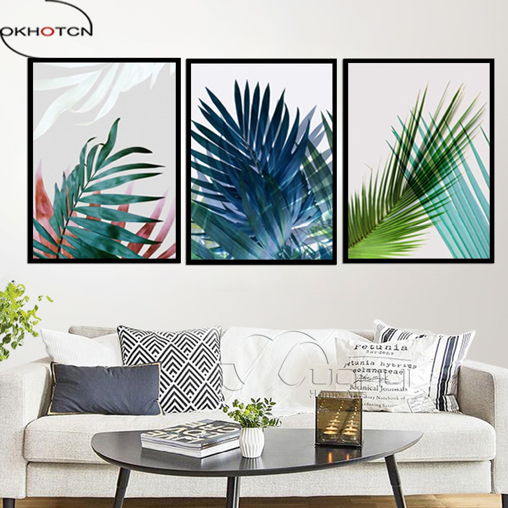 OKHOTCN Framed Nordic Canvas Painting Tropical Trees Leaves Scenery Watercolor Wall Art Poster Pictures For Living Room Decor