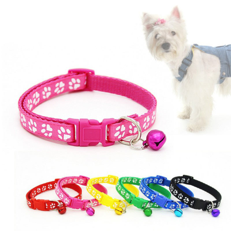 1pc New Pet Lovely Small Footprint Bell Pet Collar Adjustable Necklace Nylon Polyester Dog Printing Puppy Cat Supplies