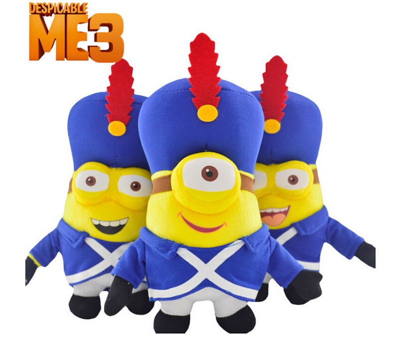 "NEW 2015 Despicable Me Minion Movie Set of 3 Minions 10/"" inches BRAND NEW 3D eye"