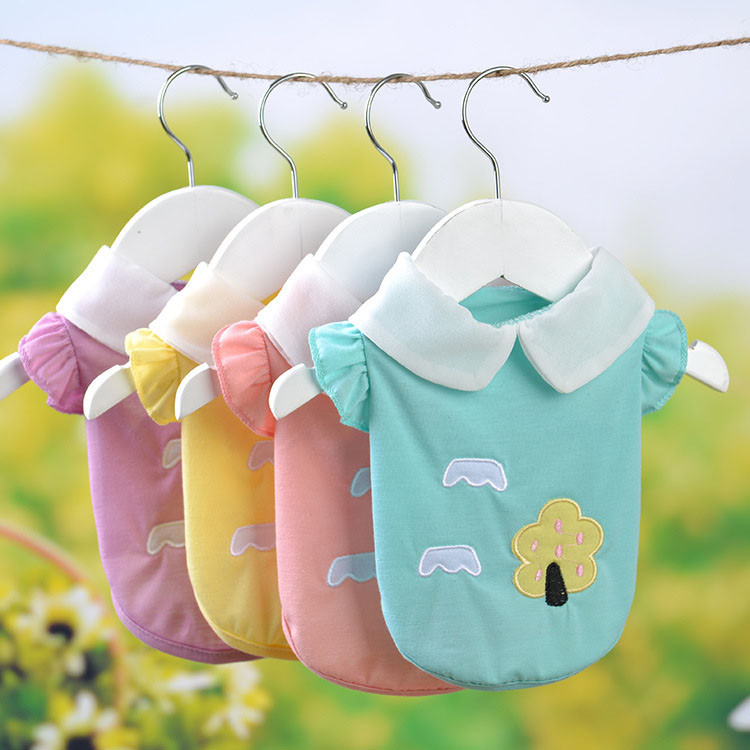 Fresh Cute Dog Coat Shirt For Small Dogs Puppy Pet Cotton T-shirt Vest Teddy Chihuahua Clothes in Spring and Summer Blue Yellow Pink Purple2