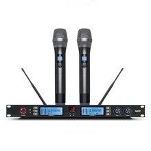 Livre shippingNE60 UHF Profissional Microfone Sem Fio Sistema de Microfone de Karaokê com Transmissor de Mão Dupla