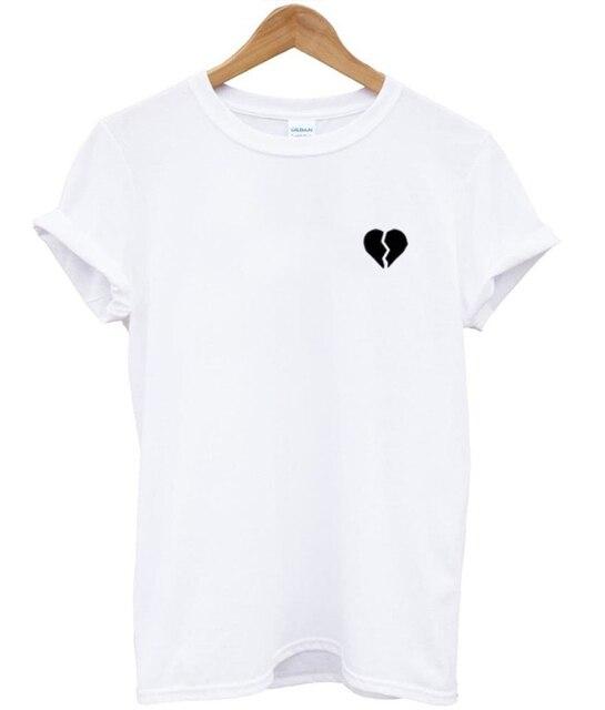 98cda4d7fa Broken Heart Pocket T-shirt Women Funny Tumblr tshirt Summer Style Outfits tees  t shirt fashion clothing