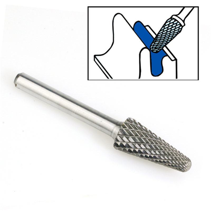 "1//2/"" Diameter 1//4/"" Shank Taper Shape 14° Carbide Burr Single Cut USA SL-4"