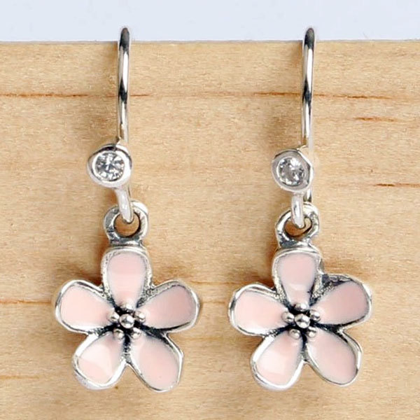 925 Sterling Silver Earring Pink Enamel Cherry Blossom Flower With Crystal Earrings For Women Wedding Fit