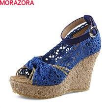 MORAZORA chaussures femme été boucle plate-forme chaussures à semelles compensées solide sandales femmes chaussures de fête mode