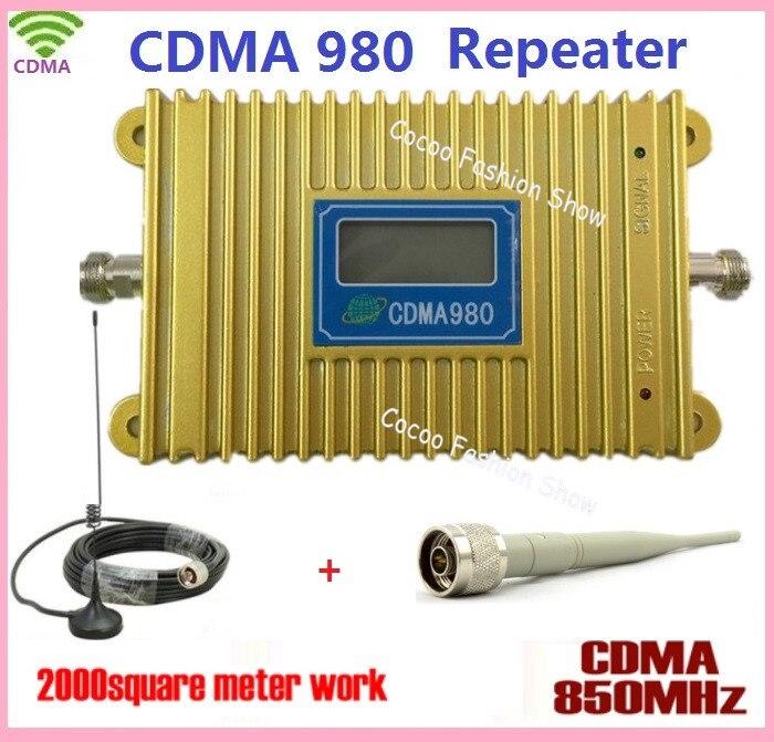 Écran LCD!! CDMA 850 Mhz téléphone portable CDMA980 amplificateur de Signal cellulaire amplificateur de répéteur de Signal cellulaire CDMA avec + antenne