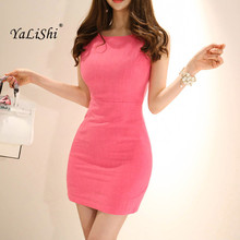 2019 Summer Plus Size Sheath Dress Women Pink Sleeveless Tank O-neck Casual Office Lady Mini Party Ladies Bodycon Dresses
