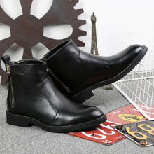 NEW Men Boots Genuine Leather Large Size Casual Lace-Up Bullock Black Spring/Autumn Shoes