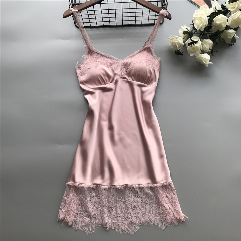 Women Sexy Lace   Nightgowns     Sleepshirts   Nightdress Silk Solid Lingere Night Club Lingerie   Nightgowns   Nightwear Sleepwear