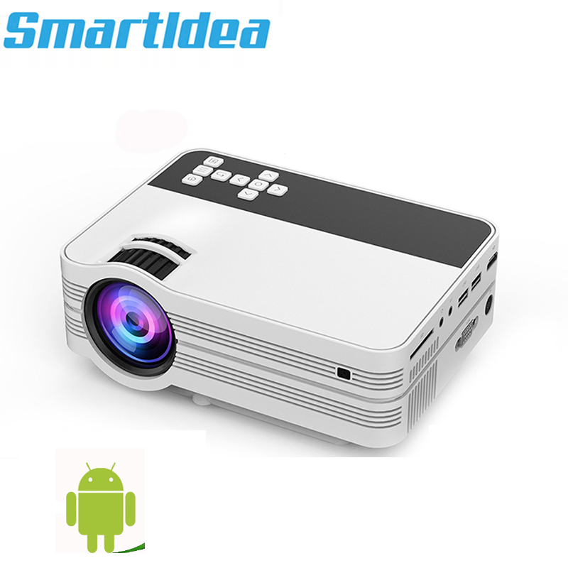 Smartldea 2000lumens Android6.0 Mini LED TV Projector HDMI 3D Home Theater Beamer Multimedia Full HD 1080P Video Game Proyector