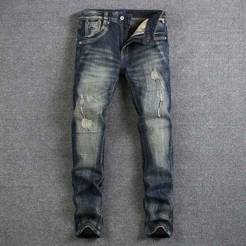 Nostalgia Retro Fashion Men Jeans Slim Fit Denim Stripe Jeans Mens Pants High Quality Dark Color Distressed Skinny Ripped Jeans classic mid stripe men s buttons jeans ripped slim fit denim pants male high quality vintage brand clothing moto jeans men rl617