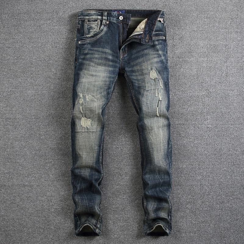 где купить Nostalgia Retro Fashion Men Jeans Slim Fit Denim Stripe Jeans Mens Pants High Quality Dark Color Distressed Skinny Ripped Jeans дешево