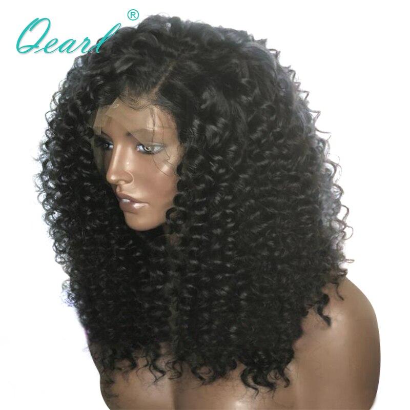 Qearl Тяжелая Толстая плотность Синтетические волосы на кружеве парики боковой части странный вьющиеся волосы человека парик 180% 200% плотность...