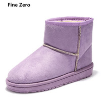 Fine Zero Female Winter Snow Boots Brand Ankle Rubber Boots Cute Suede Slip On High Top