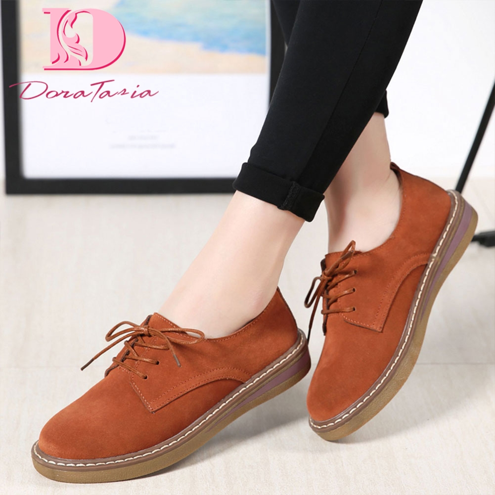 DoraTasia 2019 Spring Autumn Women Sneakers Oxford Flat Shoes Woman   Leather     Suede   Lace Up Boat Shoes Round Toe Flats Moccasins
