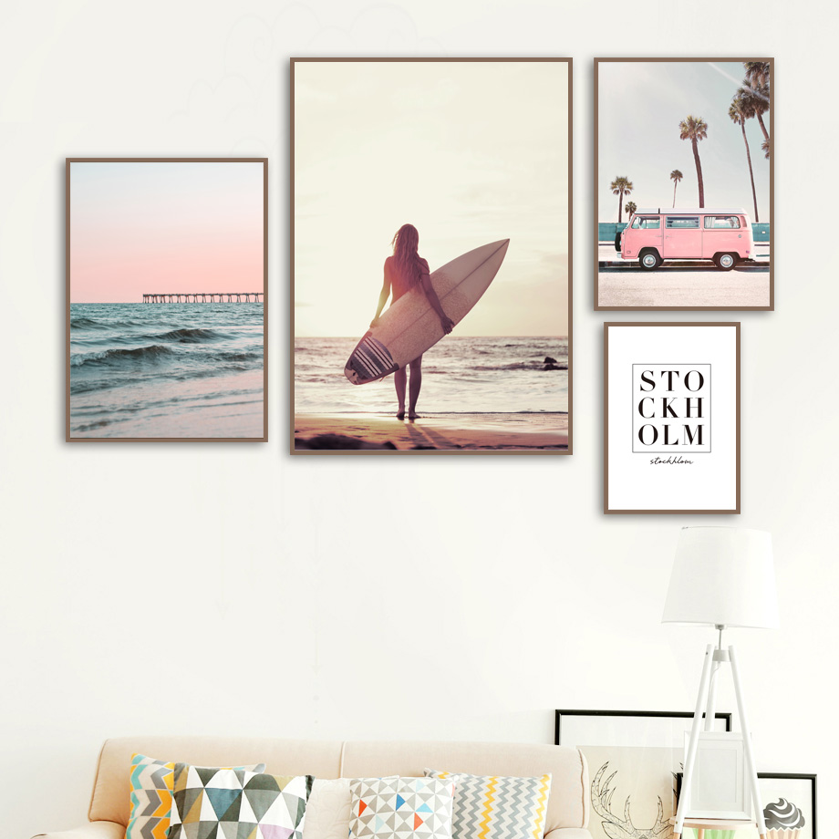 Travel Bus Coconut Tree Beach Wall Art Canvas Painting Seascape Nordic Posters And Prints Wall Pictures For Living Room Decor in Painting Calligraphy from Home Garden