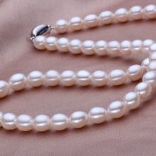 Eternal wedding Women Gift word 925 Sterling silver real 925 silver real natural big Wholesale 7-8mm meter shaped pearl necklace