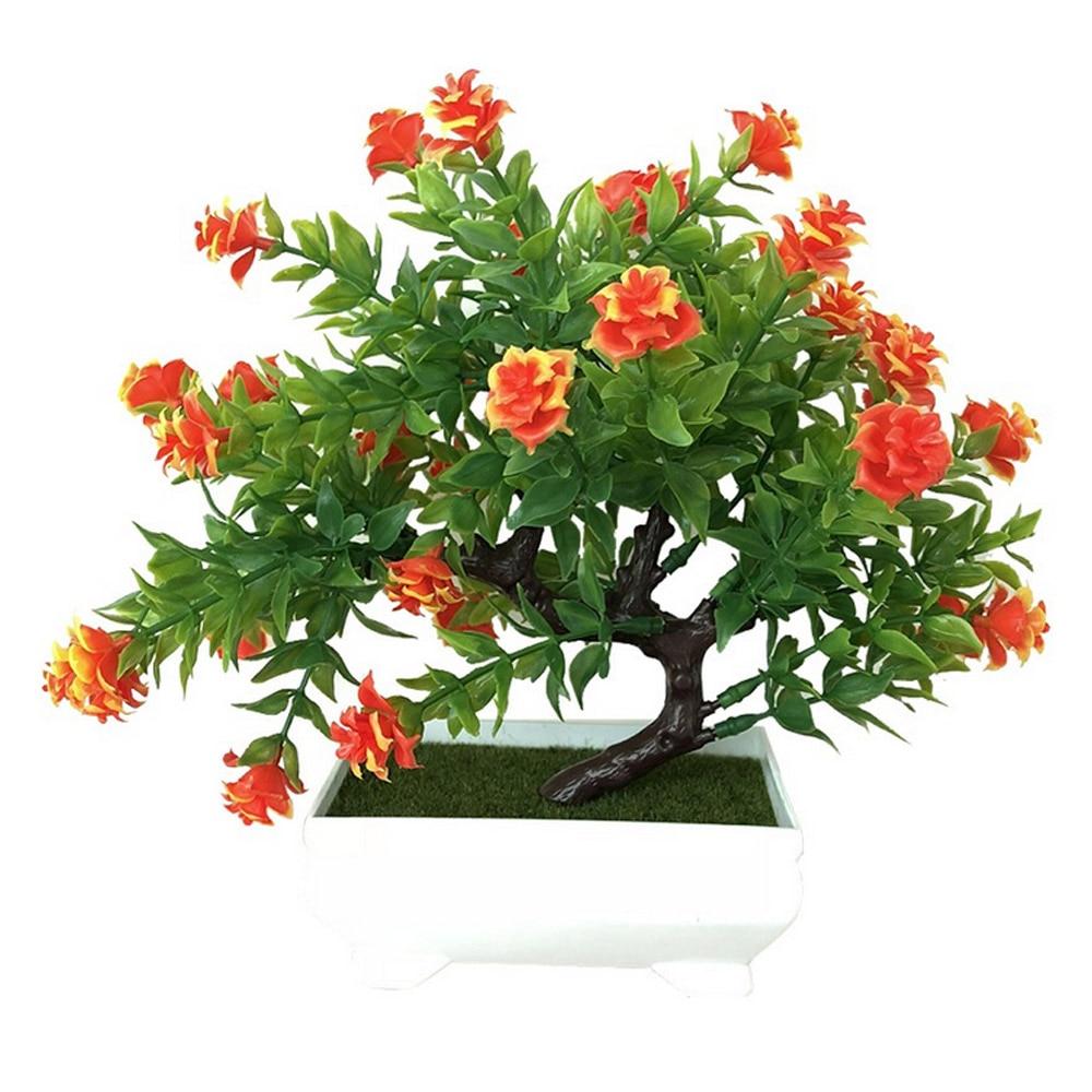 Искусственное растение Моделирование бонсай из цветов горшечный орнамент Настольный подарок Красивая мода домашний декор розы украшение дома - Цвет: orange red