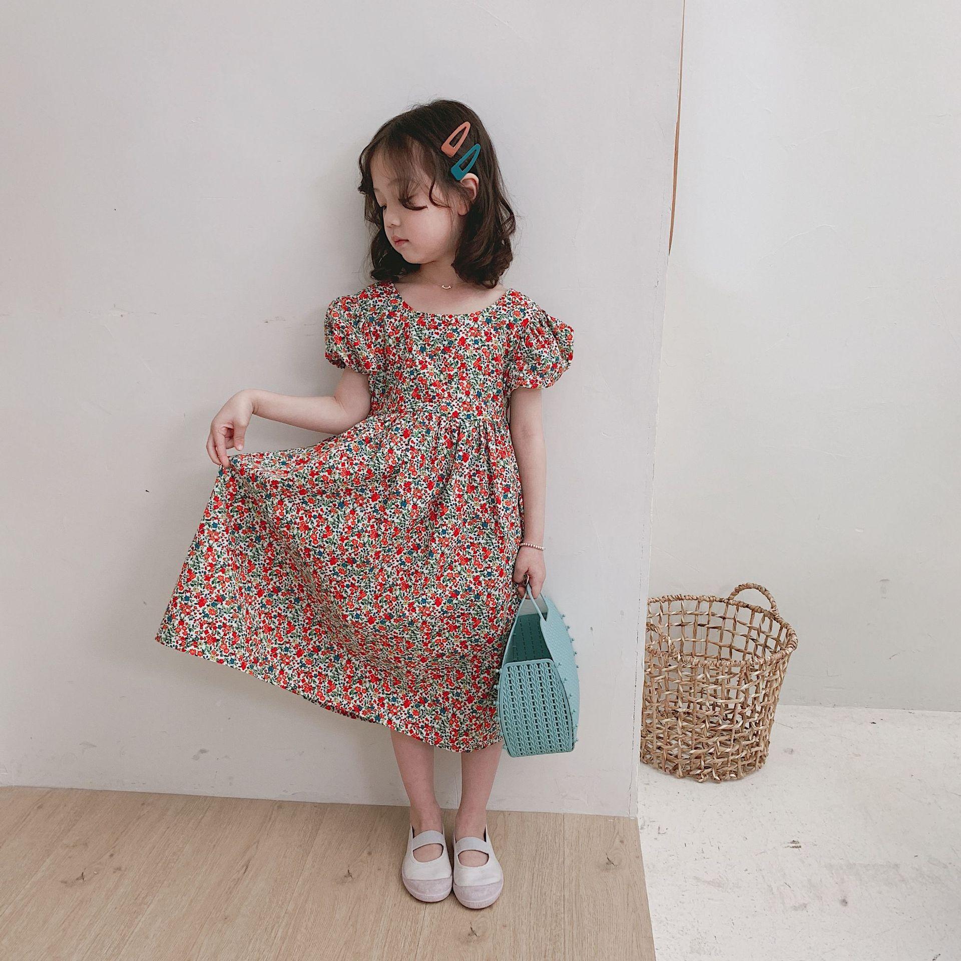 Girl Dress 2019 Summer New Children Girls Fashion Flower Dress Open-back Dress Princess Dress