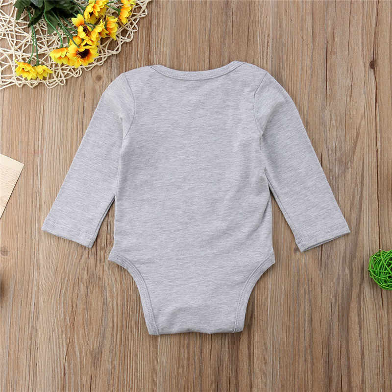 Повседневное для новорожденных детская одежда для мальчиков и девочек Эйфелева башня печати с длинным рукавом Треугольники боди серый комбинезон