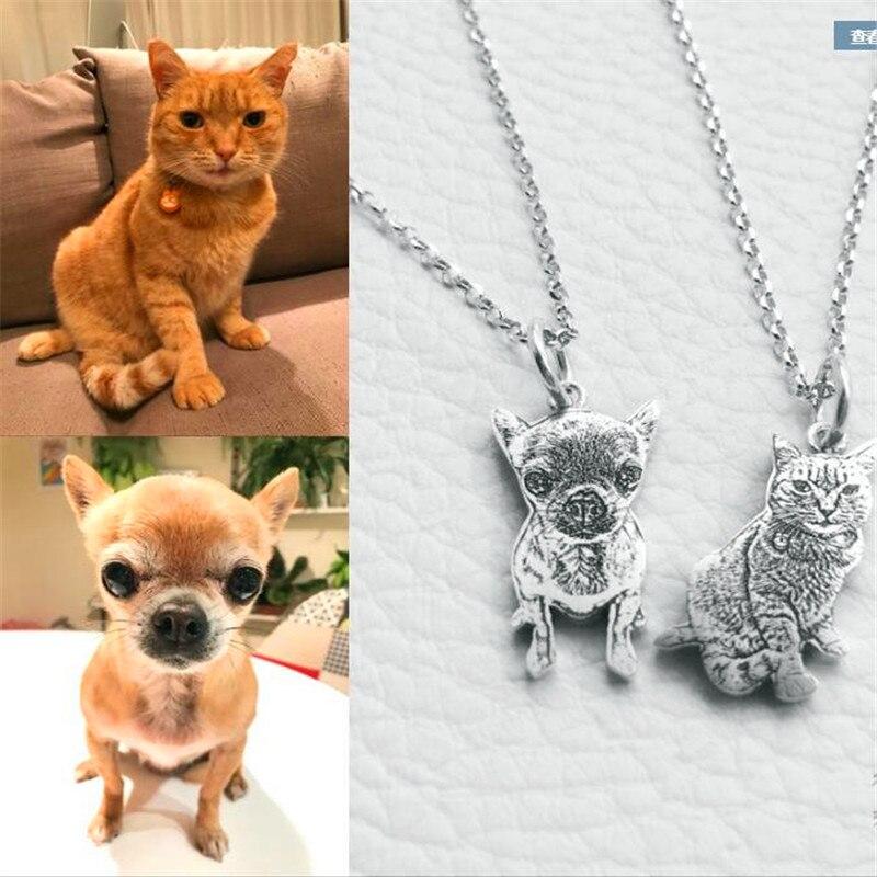 Privé personnalisé chien collier Photo personnalisé pet collier animal bijoux 925 Collier en argent sterling pour le cadeau d'anniversaire