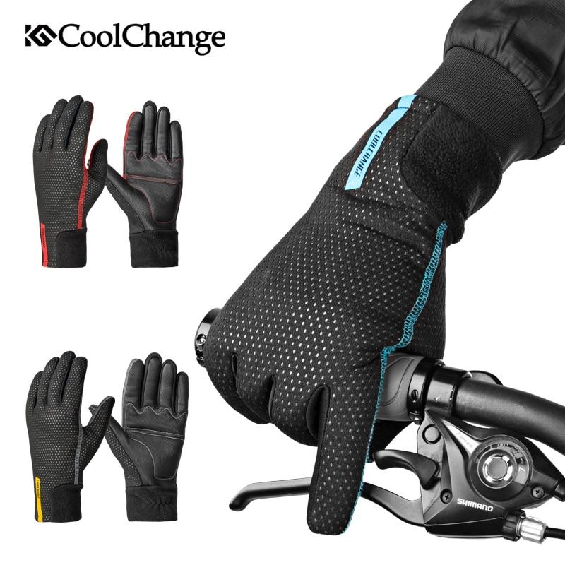 CoolChange Radfahren Handschuhe Winter Thermische Wasserdichte Fahrrad Handschuhe Volle Finger Anti-slip Touchscreen Sport MTB Rennrad Handschuhe